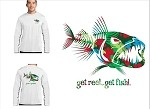 White 'Hawaiian Bad Fish' Long Sleeve Fishing T-Shirt