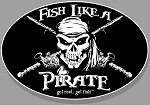 'Fish Like A Pirate' Fishing Decal - 6