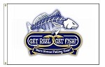 'GET REEL... GET FISH!' LOGO FLAG
