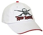 WHITE/RED HOGFISH 'REEF RAIDERS' CAP WITH SPEARGUNS, SKULL, AND HOGFISH.