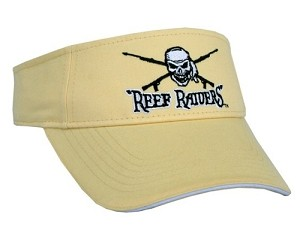 YELLOW HAZE  'REEF RAIDERS' VISOR WITH SPEARGUNS AND SKULL.  BLACK & WHITE TRIM