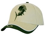 Khaki & Green Dolphin Skeletal Fishing Cap